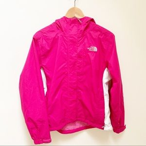 North Face bright pink and white windbreaker S